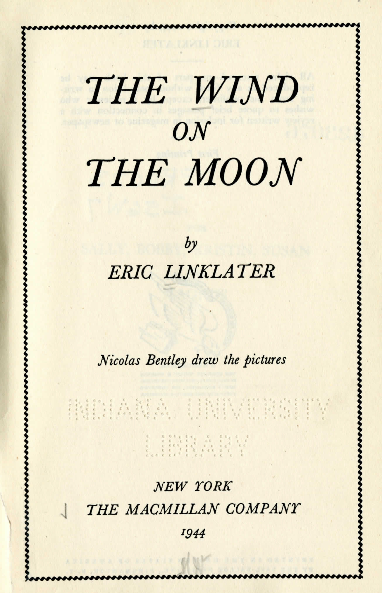 dogs and research follies ✎ e lingle craig preservation lab blog title page for the wind on the moon by eric linklater